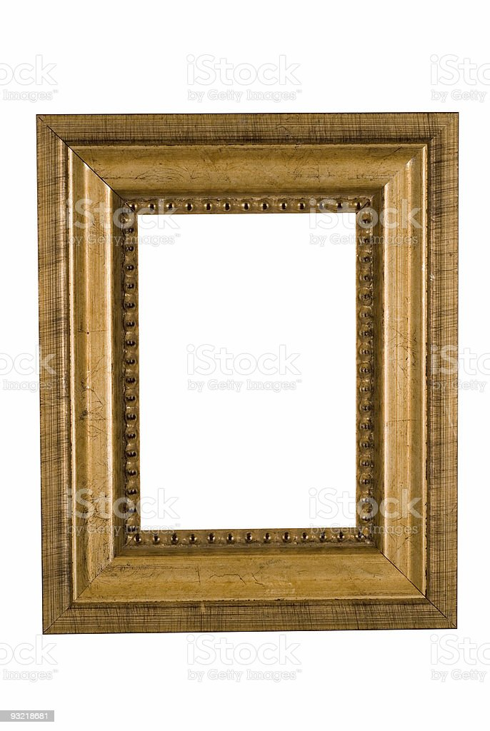 Picture Frame in Gold, White Isolated Studio Shot royalty-free stock photo
