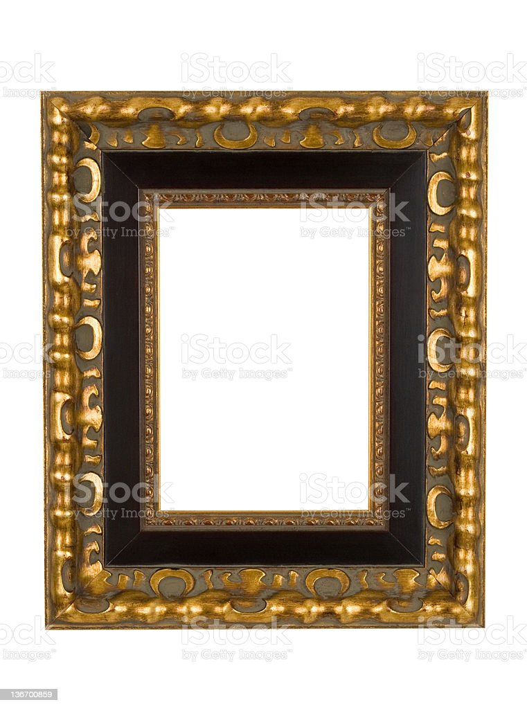 Picture Frame in Gold with Black Border, White Isolated royalty-free stock photo