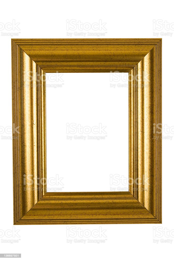 Picture Frame in Wide Bright Gold, Isolated royalty-free stock photo