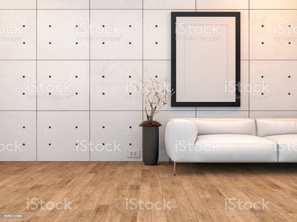 Picture frame mockup in room interior. 3d render and illustration. stock photo