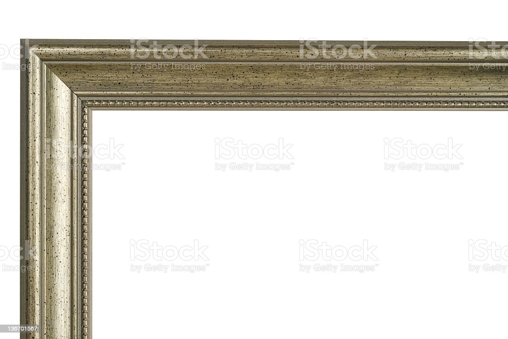Picture Frame Moulding Corner in Antique Silver royalty-free stock photo