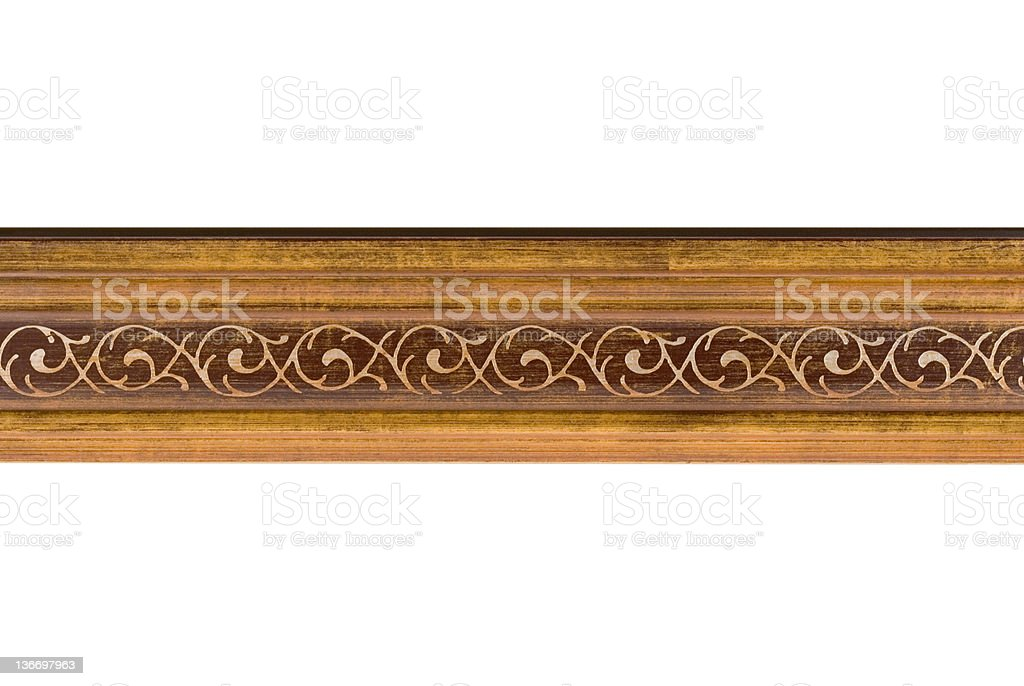 Picture Frame Moulding in Art Deco Style, White Isolated royalty-free stock photo