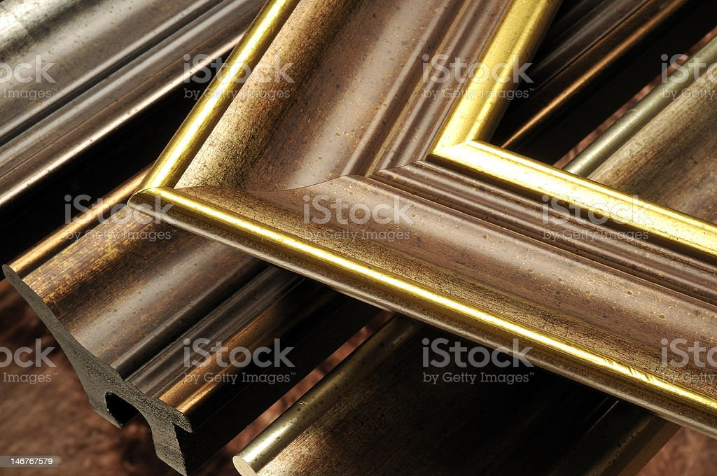 Picture frame mouldings stock photo