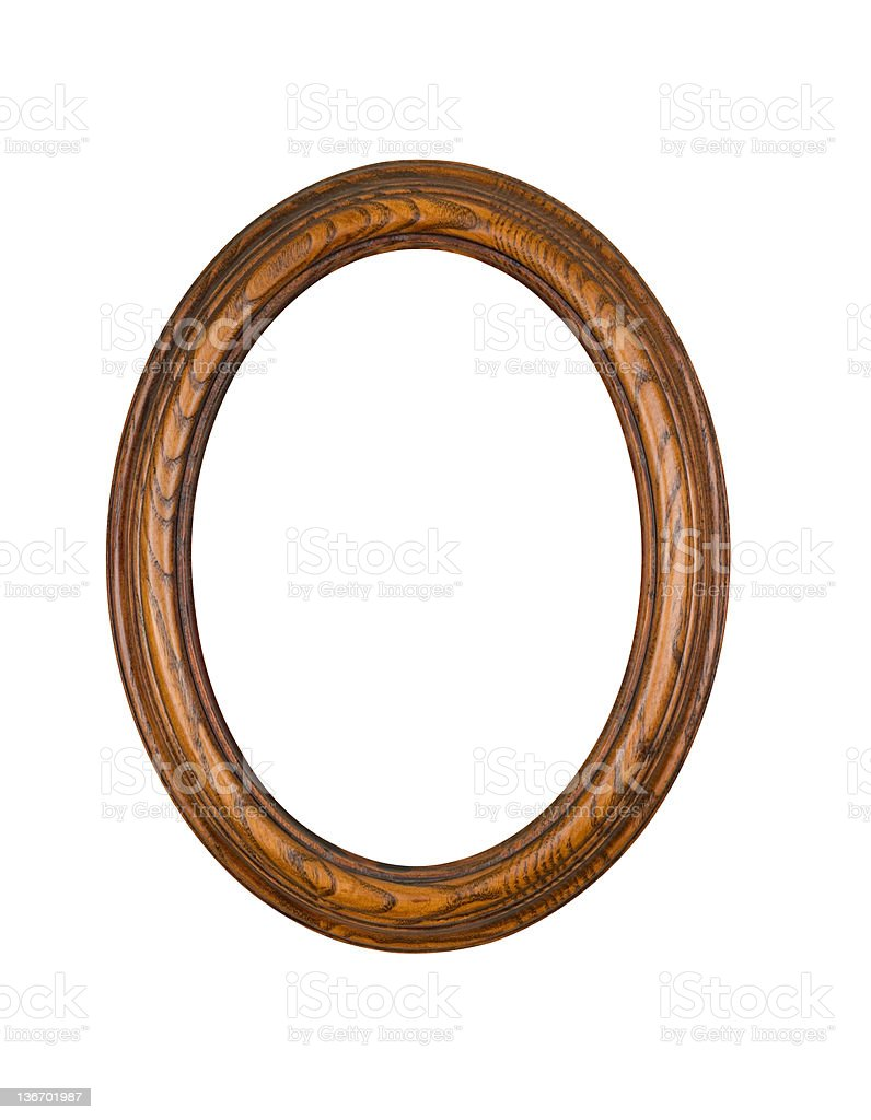 Picture Frame Oak Oval Round, White Isolated royalty-free stock photo