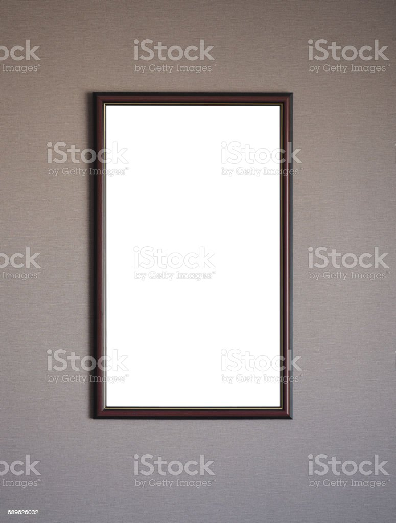 Picture frame on the grey wall. Copy space. stock photo