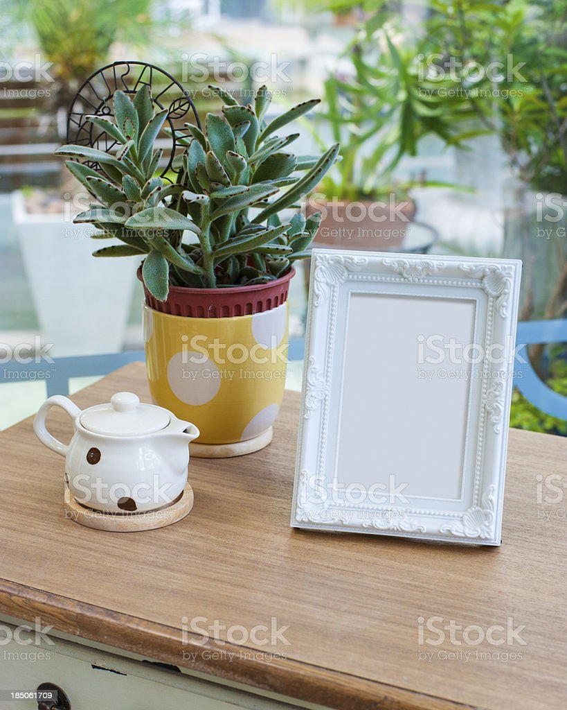 Picture frame on the table royalty-free stock photo