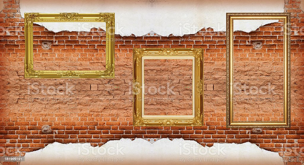 Picture Frame  red brick wall royalty-free stock photo