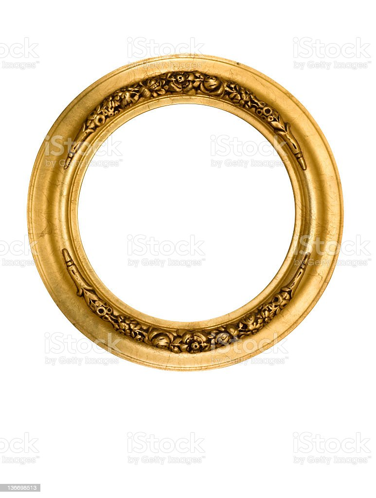 Picture Frame Round Circle in Gold, Fancy, Elegant, White Isolated stock photo