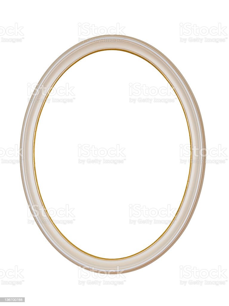 Picture Frame White Oval Circle, Isolated Design Element royalty-free stock photo