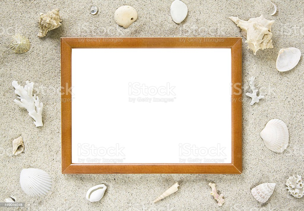 Picture frame with beach theme royalty-free stock photo