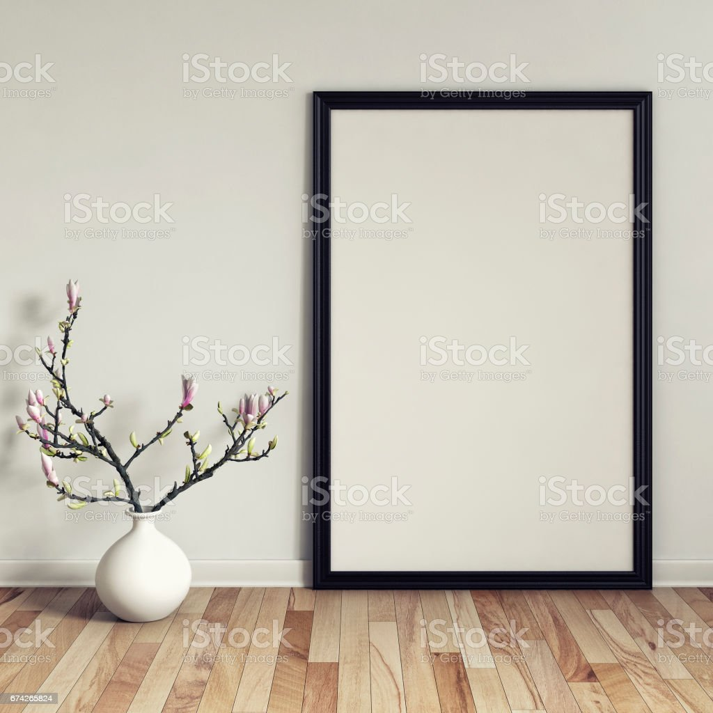 Picture frame with decoration and copy space stock photo