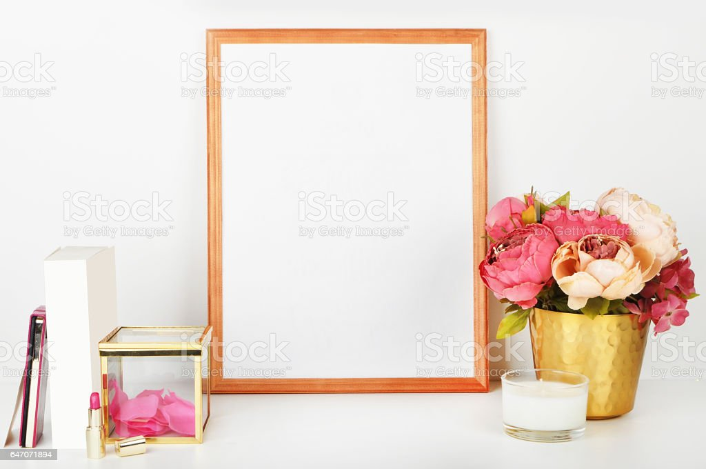 Picture frame with decorations. Mock up for your photo or text Place your work, print art,shabby style, white background, stock photo