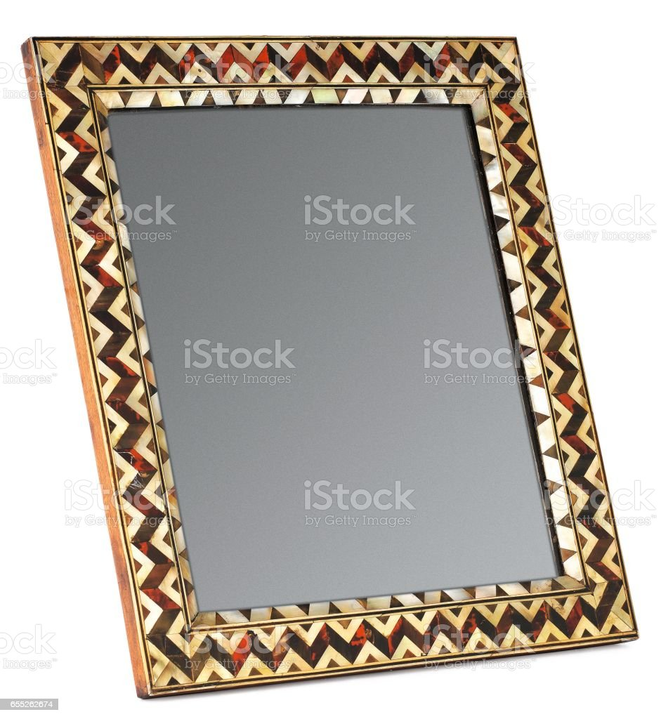Picture Frame with Mirror, White Isolated stock photo