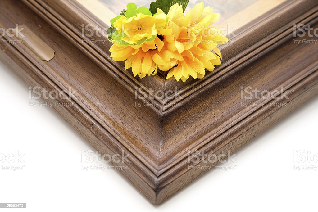 Picture frames corner with flower stock photo