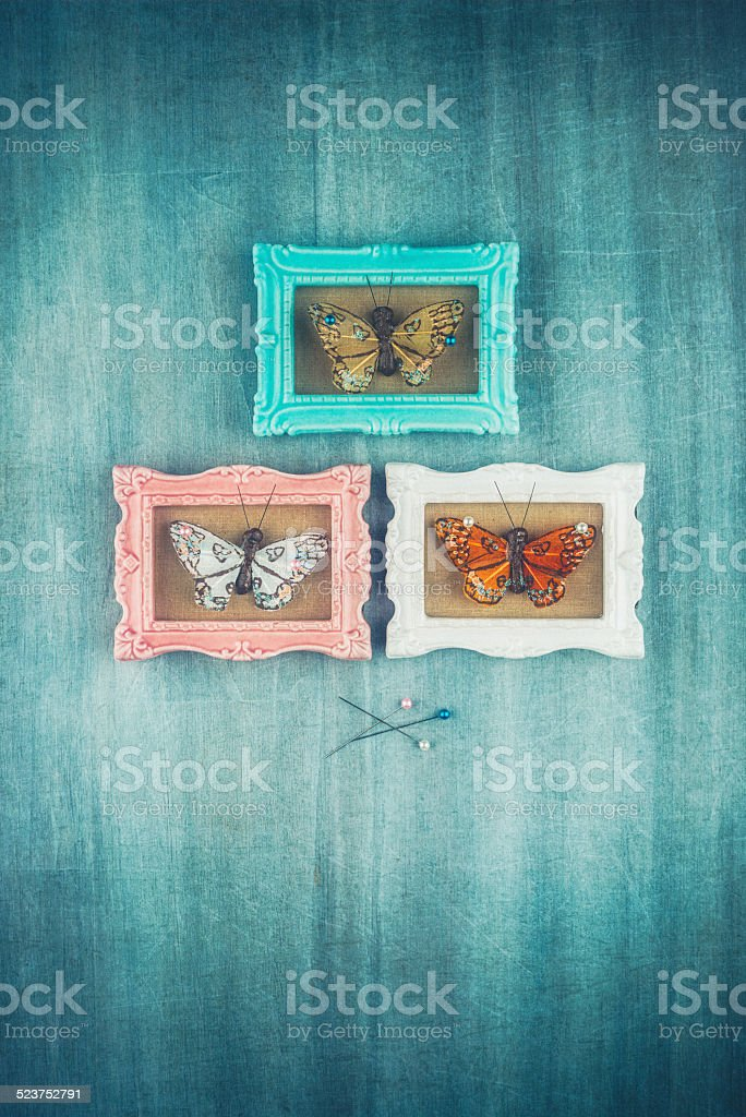 Picture frames with butterflies stock photo