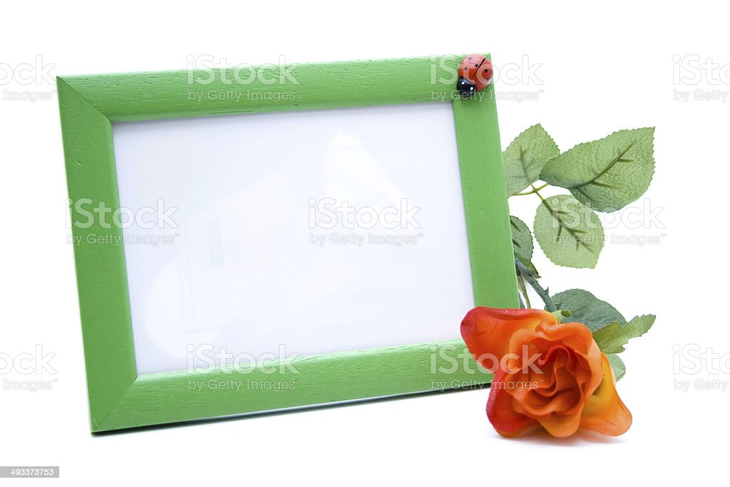 Picture frames with rose stock photo