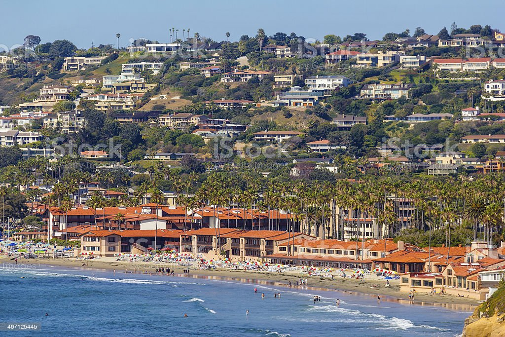 A picture from sea of the La Jolla coastline royalty-free stock photo