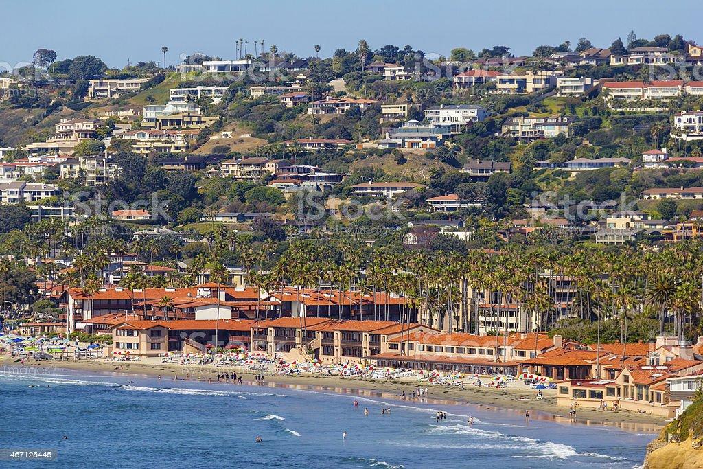 A picture from sea of the La Jolla coastline stock photo