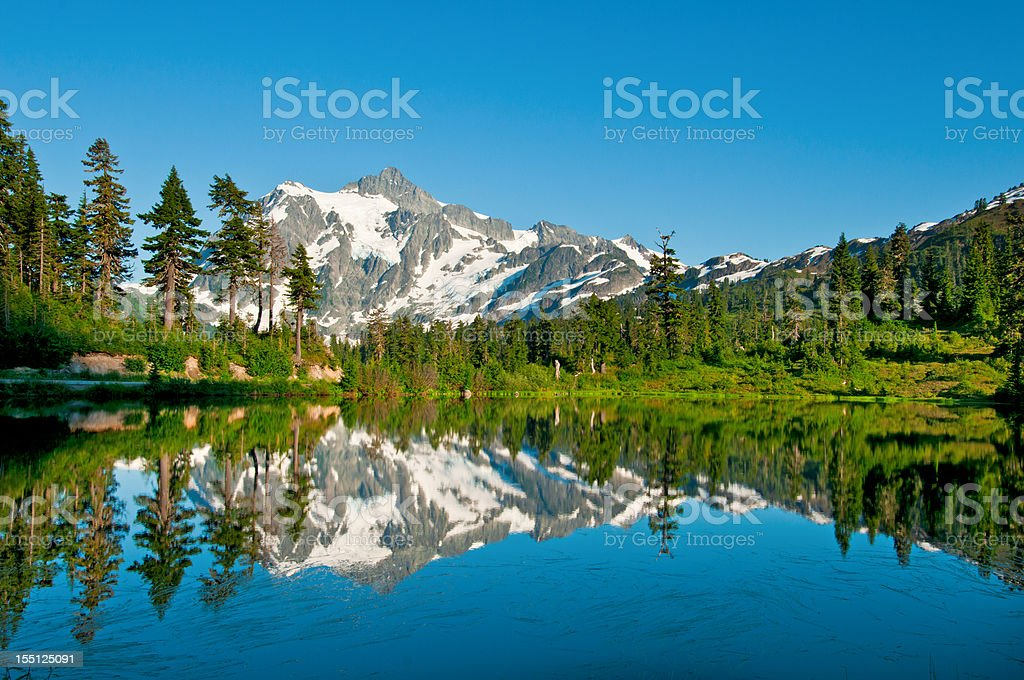 Picture Lake and Mt. Shuksan - VI royalty-free stock photo