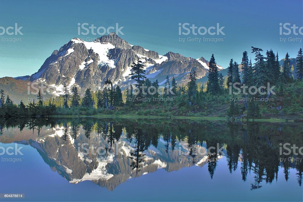 Picture Lake reflection of Mount Shuksan stock photo