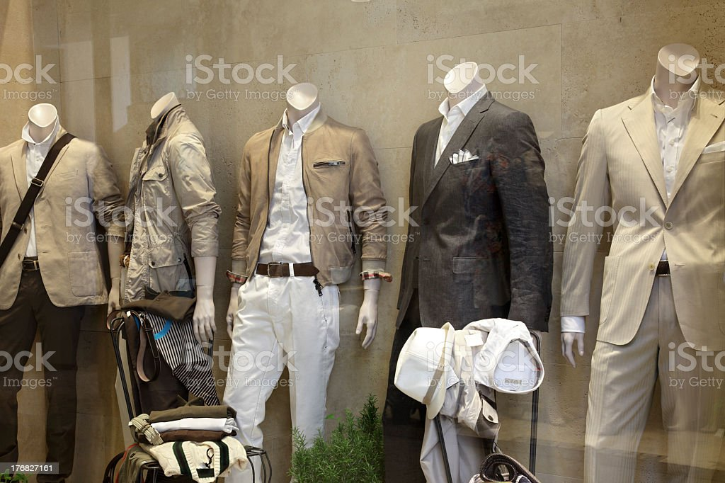 Picture mannequins in a store window royalty-free stock photo