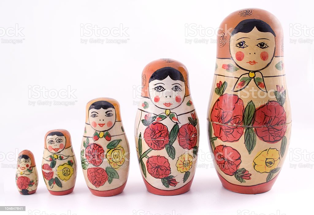 A picture of 5 different sized Russian dolls royalty-free stock photo