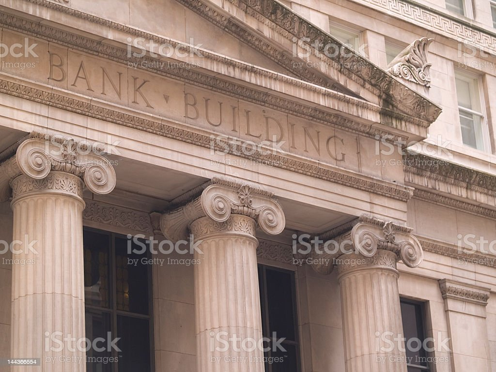 A picture of a bank building in New York royalty-free stock photo