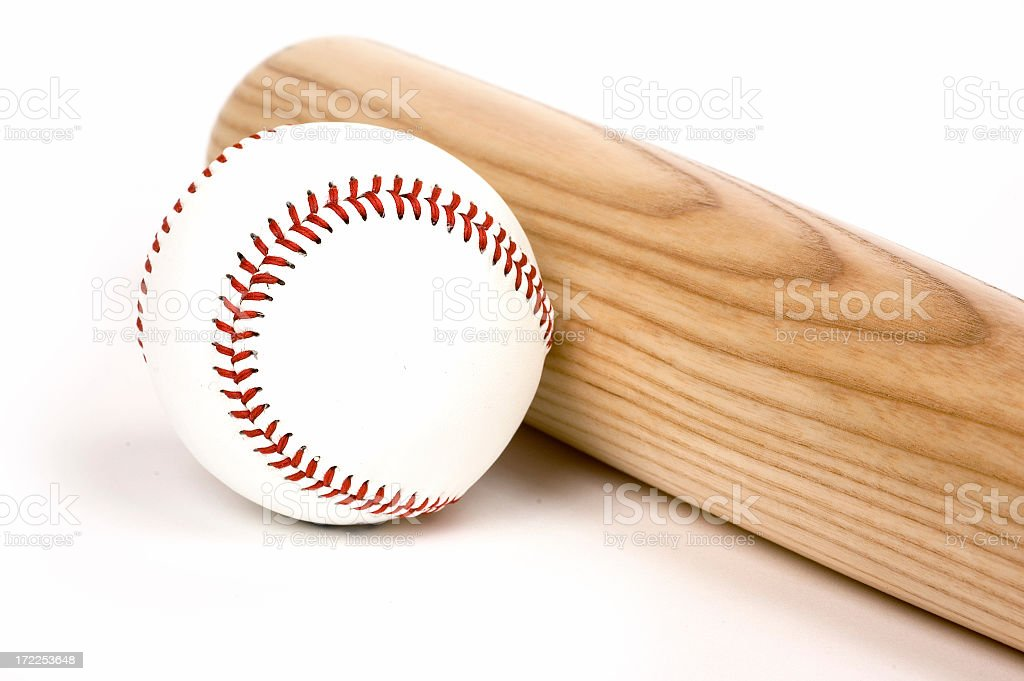 A picture of a baseball and a bat stock photo
