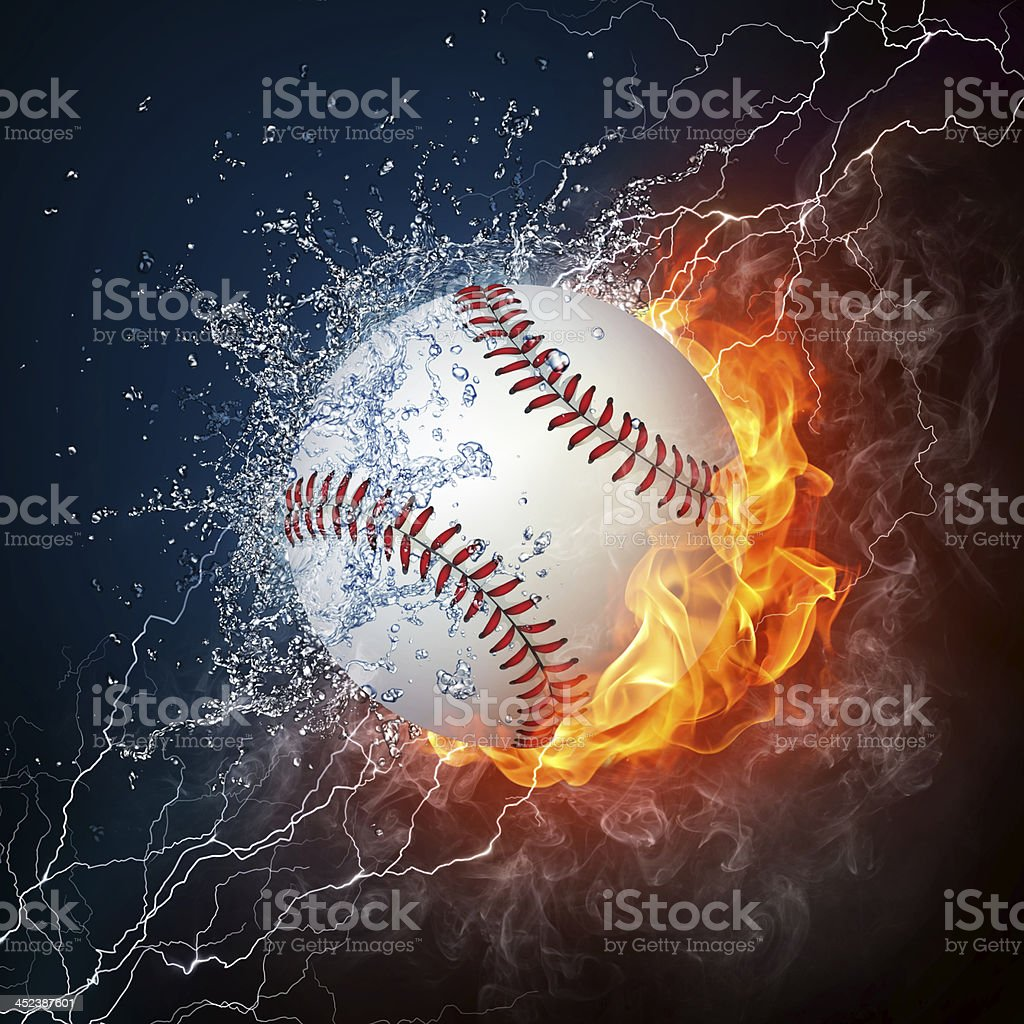 A picture of a baseball in water and fire stock photo