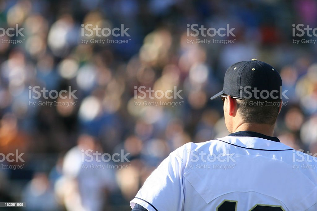 A picture of a baseball player and a white jersey stock photo