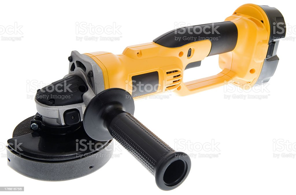 Picture of a black and yellow cordless grinder stock photo