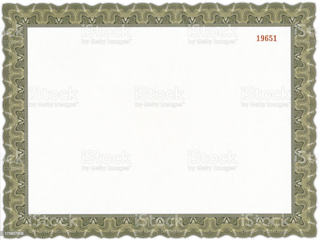 A picture of a blank certificate royalty-free stock photo
