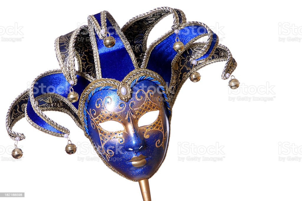 A picture of a blue and gold mask stock photo