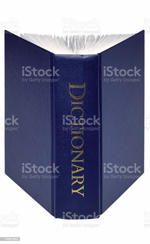 Picture of a blue dictionary on its end partially opened stock photo