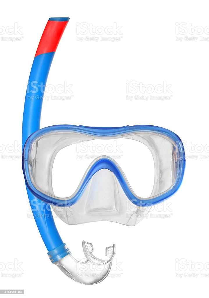 A picture of a blue Mask used for diving stock photo