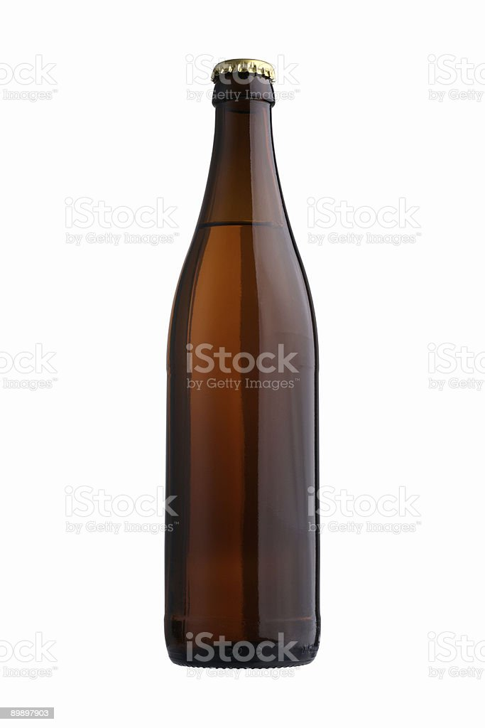A picture of a brown beer bottle stock photo
