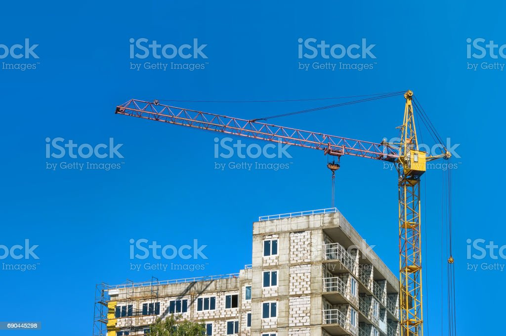 Picture of a building under construction in the city stock photo