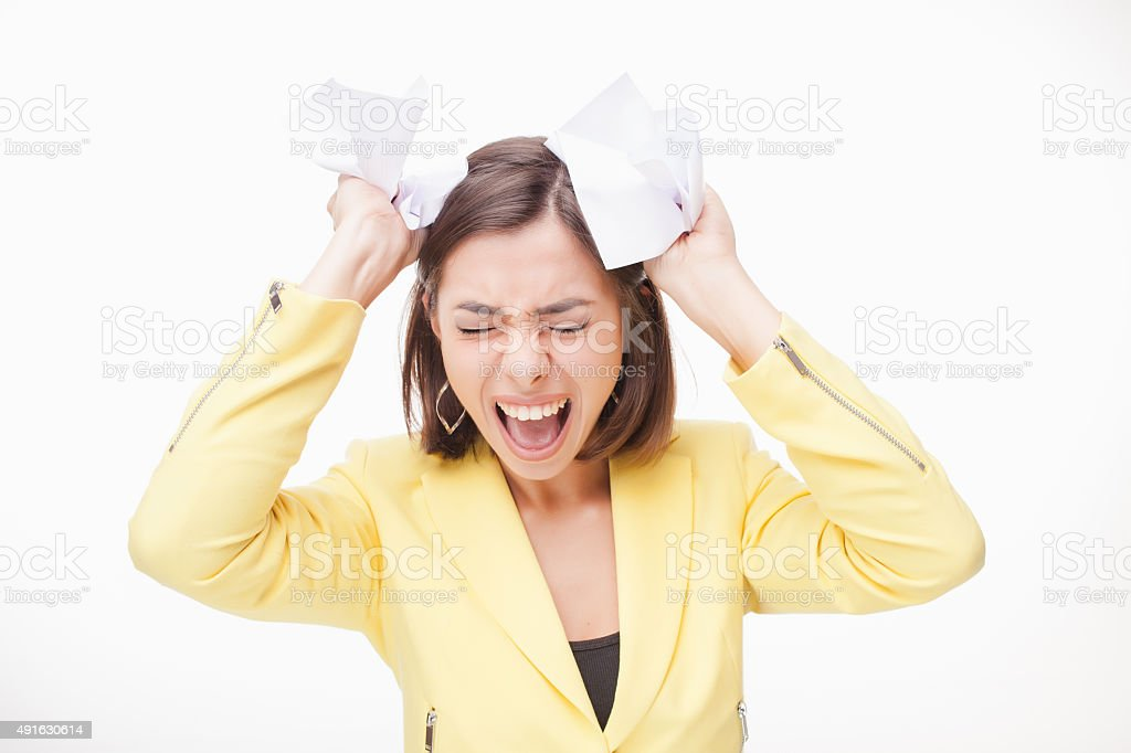 picture of a business woman in stress stock photo