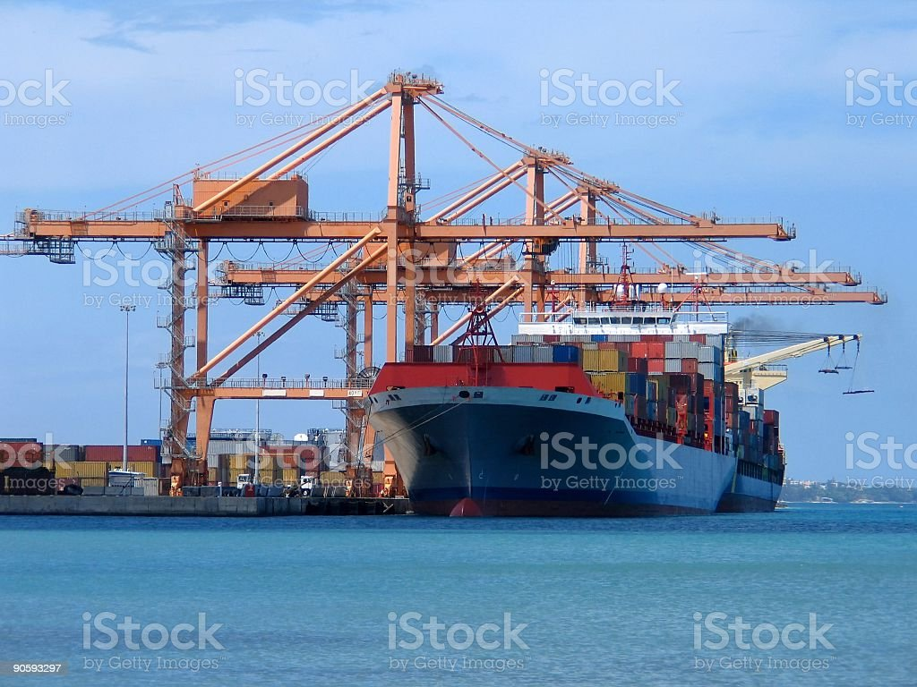 Picture of a cargo ship at sea stock photo