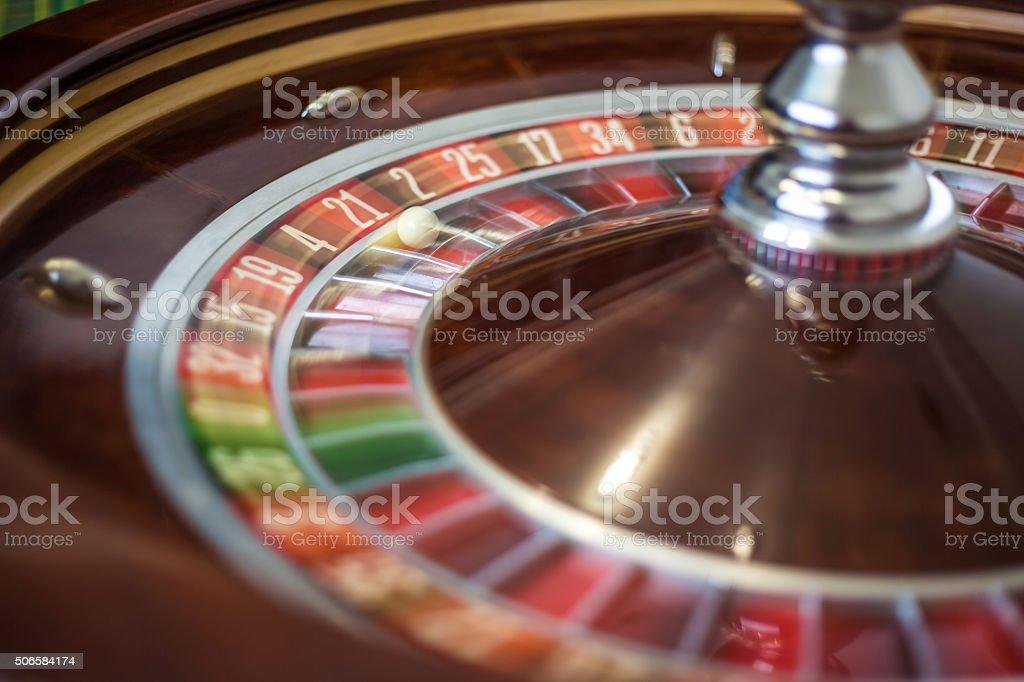 Picture of a classic casino roulette wheel. stock photo