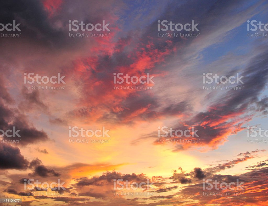 Picture of a cloudy and multicolored sky at sunset stock photo
