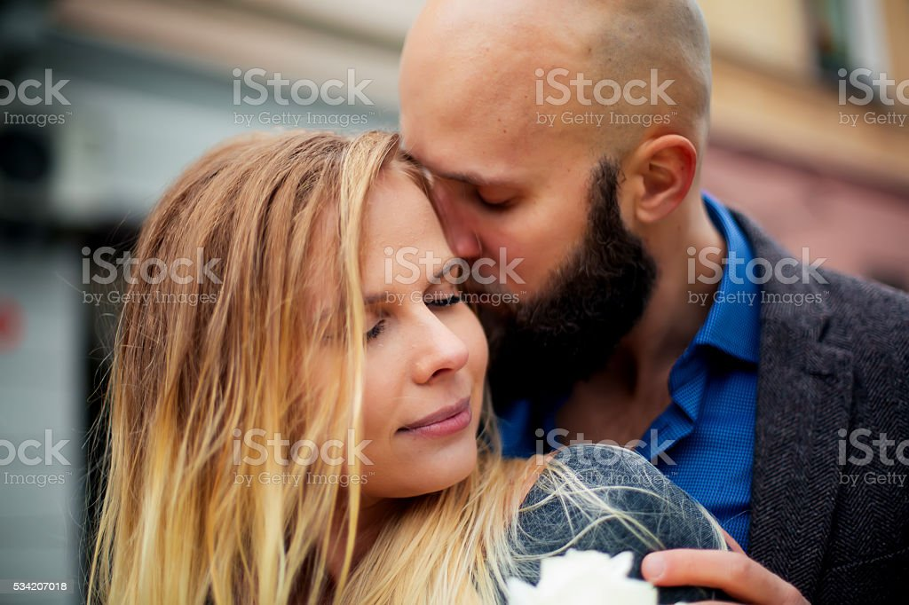 picture of a couple happy on Valentine's Day with flowers, royalty-free stock photo