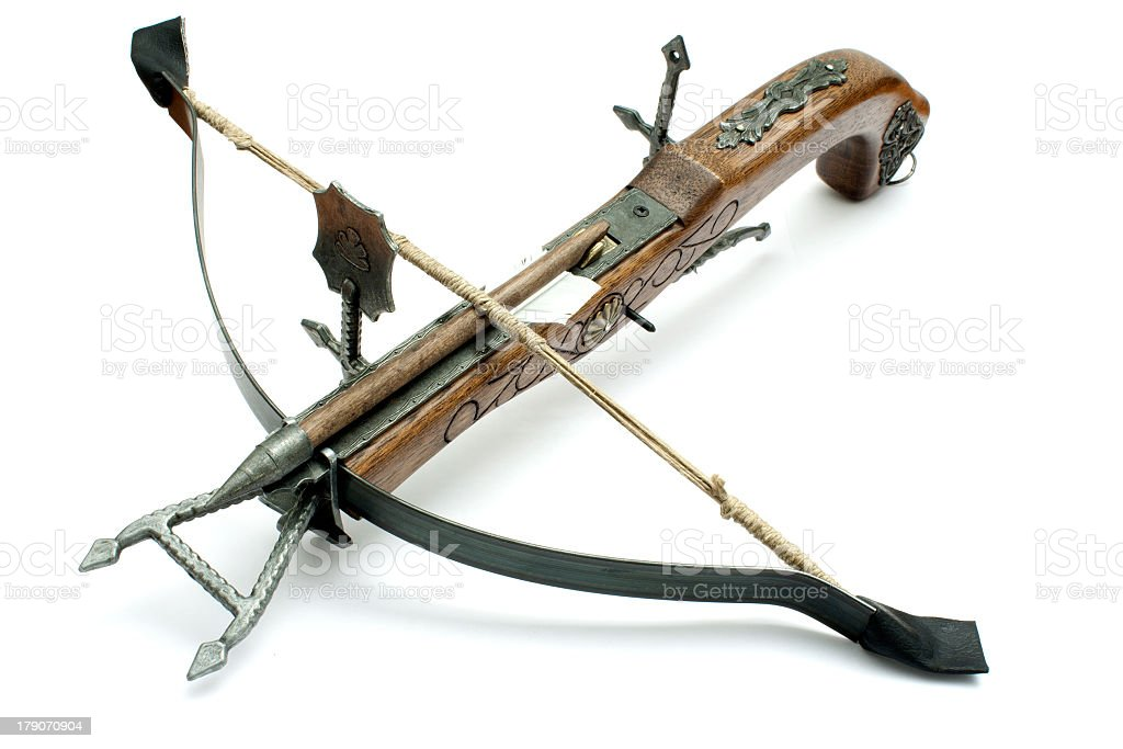 A picture of a crossbow on a white background stock photo