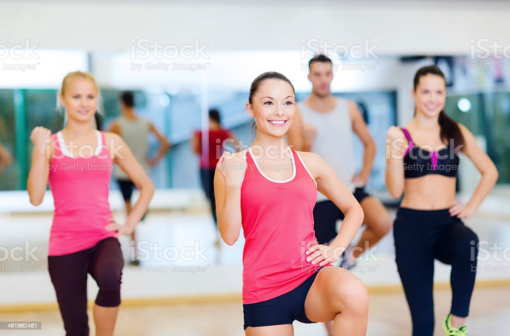 A picture of a group of women working out stock photo