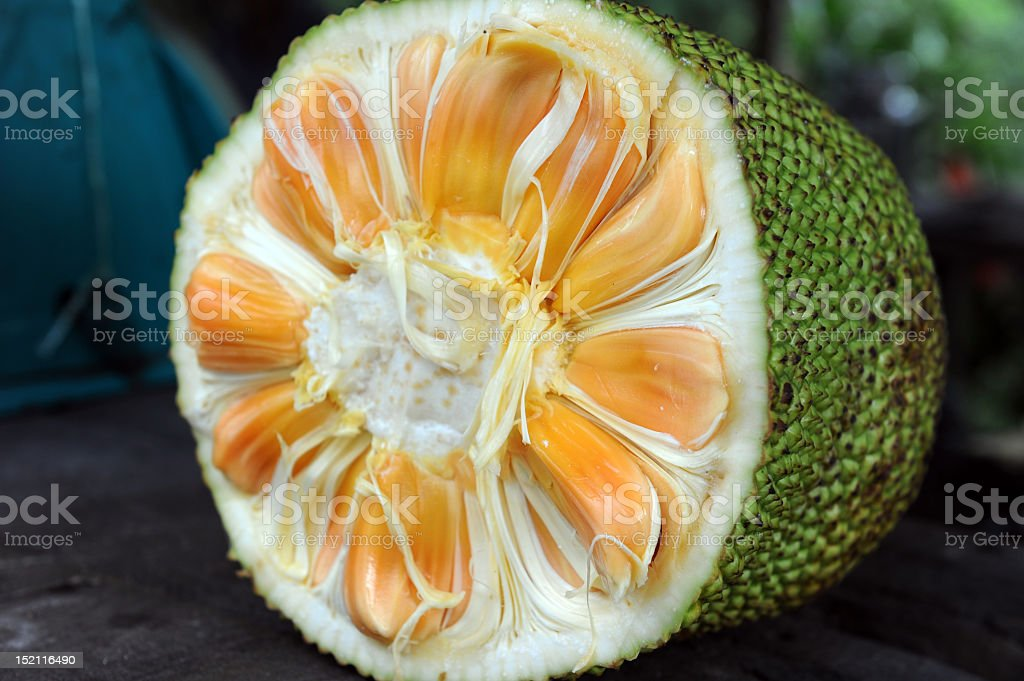A picture of a jack fruit cut in half stock photo