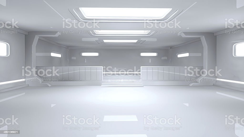 Picture of a large empty sci-fi style room stock photo