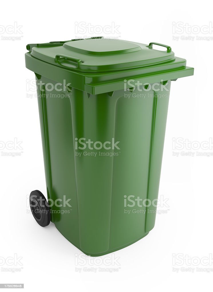 A picture of a large green rubbish bin with wheels on  stock photo