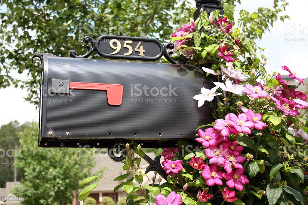A picture of a mailbox with 954 stock photo