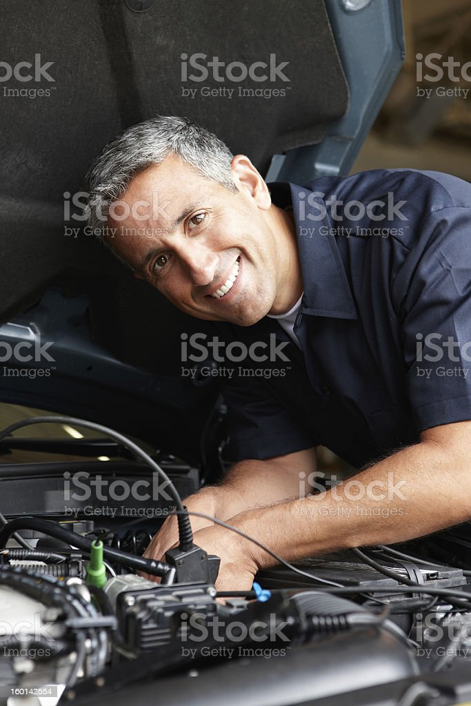 A picture of a mechanic working on a car royalty-free stock photo
