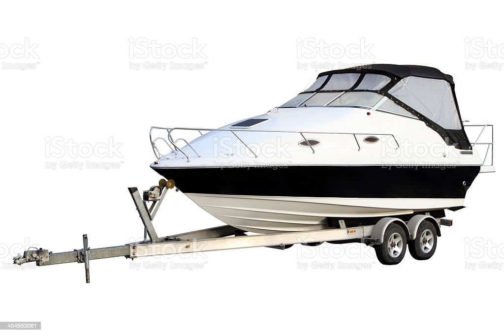 Picture of a motor yacht over a white background stock photo
